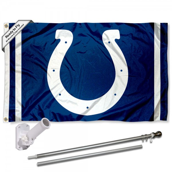 Our Indianapolis Colts Flag Pole and Bracket Kit includes the flag as shown and the recommended flagpole and flag bracket. The flag is made of polyester, has quad-stitched flyends, and the NFL Licensed team logos are double sided screen printed. The flagpole and bracket are made of rust proof aluminum and includes all hardware so this kit is ready to install and fly.