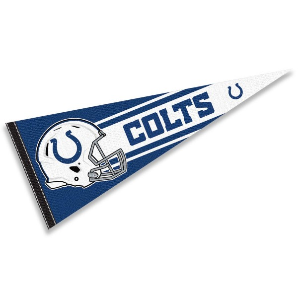 This Indianapolis Colts Football Pennant measures 12x30 inches, is constructed of felt, and is single sided screen printed with the Indianapolis Colts logo and helmets. This Indianapolis Colts Football Pennant is a NFL Officially Licensed product.