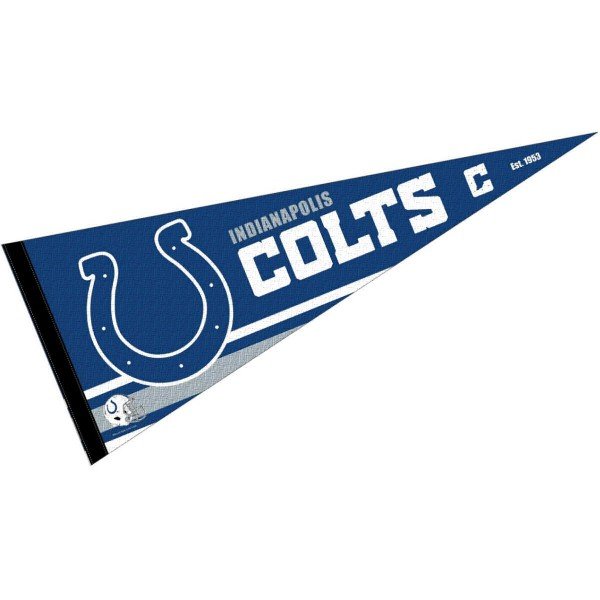 This Indianapolis Colts Full Size Pennant is 12x30 inches, is made of premium felt blends, has a pennant stick sleeve, and the team logos are single sided screen printed. Our Indianapolis Colts Full Size Pennant is NFL Officially Licensed.