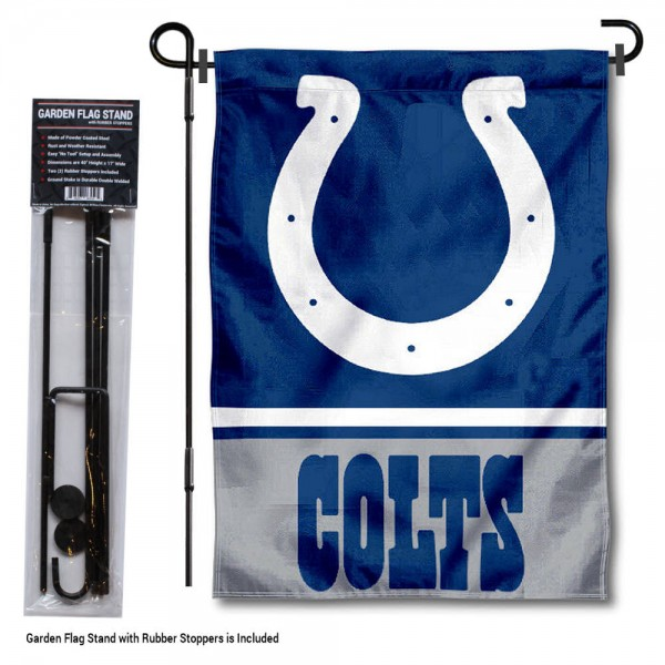 "Indianapolis Colts Garden Flag and Stand kit includes our 13""x18"" garden banner which is made of 2 ply poly with liner and has screen printed licensed logos. Also, a 40""x17"" inch garden flag stand is included so your Indianapolis Colts Garden Flag and Stand is ready to be displayed with no tools needed for setup. Fast Overnight Shipping is offered and the flag is Officially Licensed and Approved by the selected team."