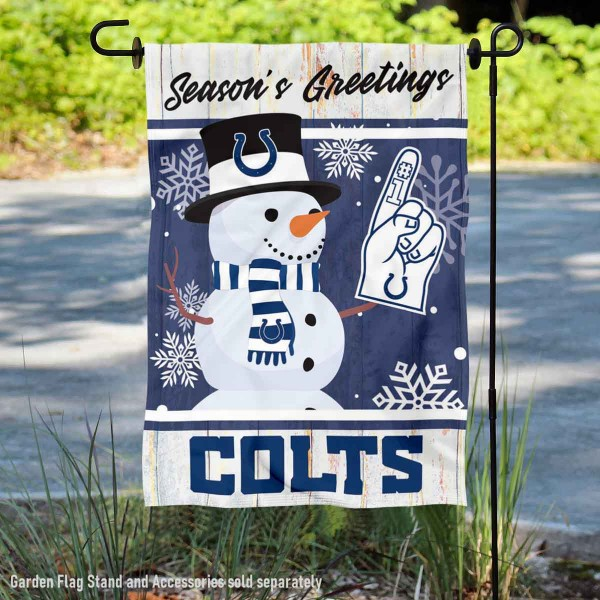 Indianapolis Colts Holiday Winter Snow Double Sided Garden Flag is 12.5x18 inches in size, is made of 2-ply polyester, and has two sided screen printed logos and lettering. Available with Express Next Day Ship, our Indianapolis Colts Holiday Winter Snow Double Sided Garden Flag is NFL Officially Licensed and is double sided.
