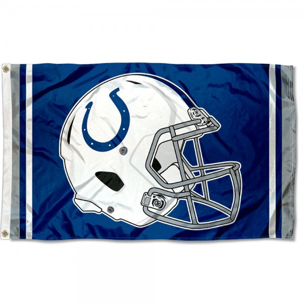 Our Indianapolis Colts New Helmet Flag is two sided, made of poly, 3'x5', Overnight Shipping, has two metal grommets, indoor or outdoor, and four-stitched fly ends. These Indianapolis Colts New Helmet Flags are Officially Approved by the Indianapolis Colts.