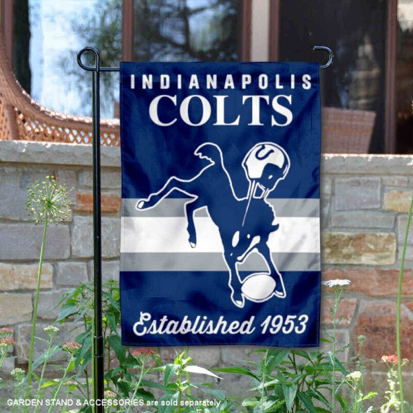 Indianapolis Colts Throwback Logo Double Sided Garden Flag Flag is 12.5x18 inches in size, is made of 2-ply polyester, and has two sided screen printed logos and lettering. Available with Express Next Day Ship, our Indianapolis Colts Throwback Logo Double Sided Garden Flag Flag is NFL Officially Licensed and is double sided.