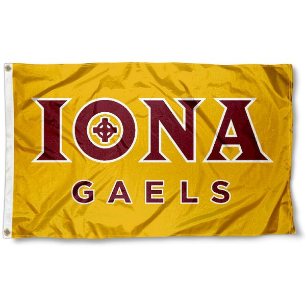 Iona College Flag measures 3x5 feet, is made of 100% polyester, offers quadruple stitched flyends, has two metal grommets, and offers screen printed NCAA team logos and insignias. Our Iona College Flag is officially licensed by the selected university and NCAA.