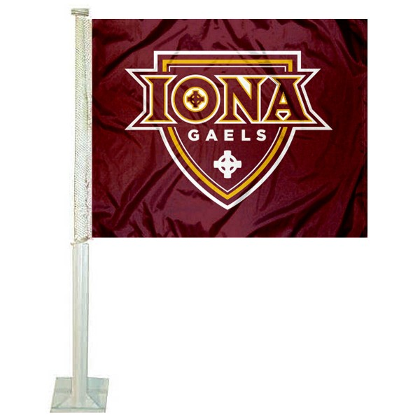 Iona College Gaels Logo Car Flag measures 12x15 inches, is constructed of sturdy 2 ply polyester, and has screen printed school logos which are readable and viewable correctly on both sides. Iona College Gaels Logo Car Flag is officially licensed by the NCAA and selected university.
