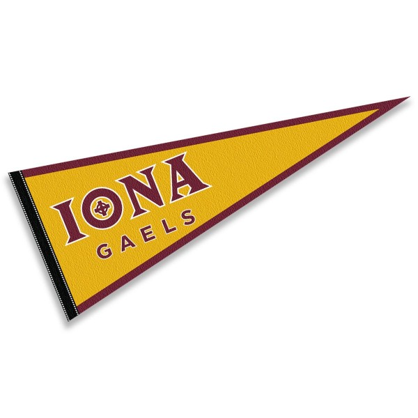 Iona College Gaels Pennant consists of our full size sports pennant which measures 12x30 inches, is constructed of felt, is single sided imprinted, and offers a pennant sleeve for insertion of a pennant stick, if desired. This Iona College Gaels Pennant Decorations is Officially Licensed by the selected university and the NCAA.