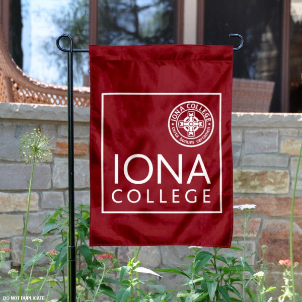 Iona College Garden Flag is 13x18 inches in size, is made of 2-layer polyester, screen printed university athletic logos and lettering, and is readable and viewable correctly on both sides. Available same day shipping, our Iona College Garden Flag is officially licensed and approved by the university and the NCAA.
