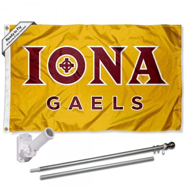 Our Iona College Gold Flag Pole and Bracket Kit includes the flag as shown and the recommended flagpole and flag bracket. The flag is made of polyester, has quad-stitched flyends, and the NCAA Licensed team logos are double sided screen printed. The flagpole and bracket are made of rust proof aluminum and includes all hardware so this kit is ready to install and fly.