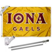Iona College Gold Flag Pole and Bracket Kit