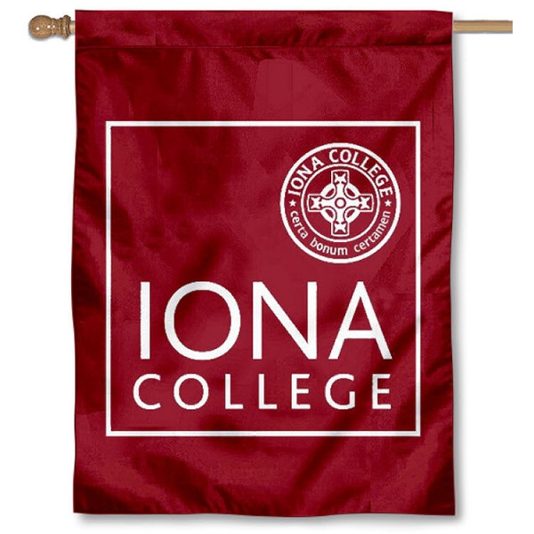 Iona College House Flag is a vertical house flag which measures 30x40 inches, is made of 2 ply 100% polyester, offers screen printed NCAA team insignias, and has a top pole sleeve to hang vertically. Our Iona College House Flag is officially licensed by the selected university and the NCAA.