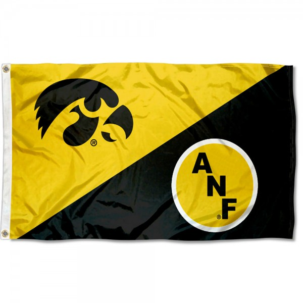 Iowa Hawkeyes ANF Flag measures 3x5 feet, is made of 100% polyester, offers quadruple stitched flyends, has two metal grommets, and offers screen printed NCAA team logos and insignias. Our Iowa Hawkeyes ANF Flag is officially licensed by the selected university and NCAA.