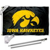 Iowa Hawkeyes Black Flag Pole and Bracket Kit