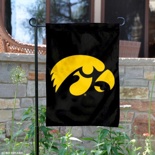 Iowa Hawkeyes Black Garden Flag is 13x18 inches in size, is made of 2-layer polyester, screen printed University of Iowa athletic logos and lettering. Available with Same Day Express Shipping, Our Iowa Hawkeyes Black Garden Flag is officially licensed and approved by University of Iowa and the NCAA.