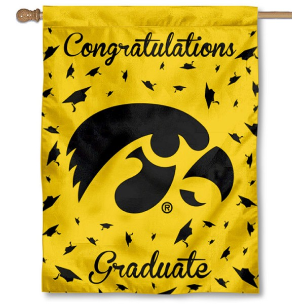 Iowa Hawkeyes Congratulations Graduate Flag measures 30x40 inches, is made of poly, has a top hanging sleeve, and offers dye sublimated Iowa Hawkeyes logos. This Decorative Iowa Hawkeyes Congratulations Graduate House Flag is officially licensed by the NCAA.