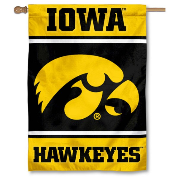 Iowa Hawkeyes Double Sided Banner is a vertical house flag which measures 28x40 inches, is made of 2 ply 100% nylon, offers screen printed NCAA team insignias, and has a top pole sleeve to hang vertically. Our Iowa Hawkeyes Double Sided Banner is officially licensed by the selected university and the NCAA.