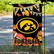 Iowa Hawkeyes Fall Football Autumn Leaves Decorative Garden Flag