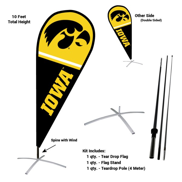 Iowa Hawkeyes Feather Flag Kit measures a tall 10' when fully assembled. The kit includes a Feather Flag, 3 Piece Fiberglass Pole, and matching Metal Feather Flag Stand. Our Iowa Hawkeyes Feather Flag Kit easily assembles and is NCAA Officially Licensed by the selected school or university.