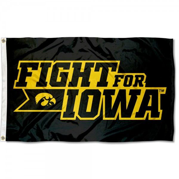 Iowa Hawkeyes Fight For Iowa Flag measures 3x5 feet, is made of 100% polyester, offers quadruple stitched flyends, has two metal grommets, and offers screen printed NCAA team logos and insignias. Our Iowa Hawkeyes Fight For Iowa Flag is officially licensed by the selected university and NCAA.