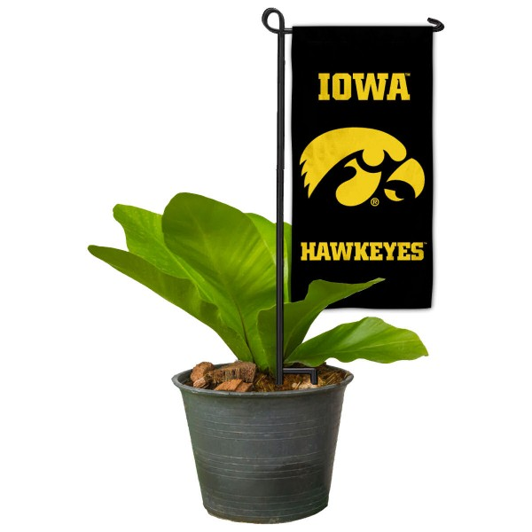 """Iowa Hawkeyes Flower Pot Topper Flag kit includes our 4""""x8"""" mini garden banner and 6"""" x 14"""" mini garden banner stand. The mini flag is made of 1-ply polyester, has screen printed logos and the garden stand is made of steel and powder coated black. This kit is NCAA Officially Licensed by the selected college or university."""
