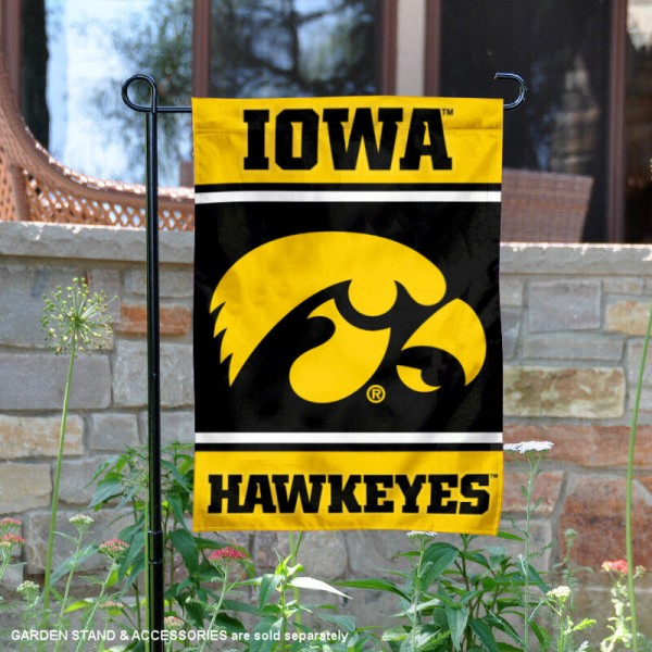 Iowa Hawkeyes Garden Flag is 13x18 inches in size, is made of 2-layer polyester, screen printed logos and lettering. Available with Same Day Express Shipping, Our Iowa Hawkeyes Garden Flag is officially licensed and approved by the NCAA.