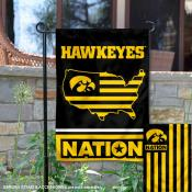 Iowa Hawkeyes Garden Flag with USA Country Stars and Stripes