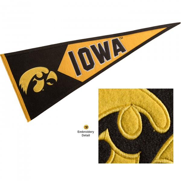 Iowa Hawkeyes Genuine Wool Pennant consists of our full size 13x32 inch Winning Streak Sports wool college pennant. The logos, lettering and insignia is quality embroidered and appliqued, feature a alternate logo color header, and has sewn wool perimeter. This Iowa Hawkeyes College Pennant Pennant is Officially Licensed and University Approved with Overnight Next Day Shipping.