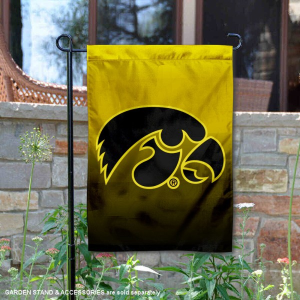 Iowa Hawkeyes Gradient Ombre Logo Garden Flag is 13x18 inches in size, is made of thick blockout polyester, screen printed university athletic logos and lettering, and is readable and viewable correctly on both sides. Available same day shipping, our Iowa Hawkeyes Gradient Ombre Logo Garden Flag is officially licensed and approved by the university and the NCAA.