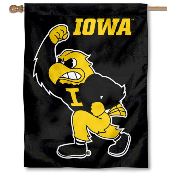 Iowa Hawkeyes Herky the Hawk House Flag is a vertical house flag which measures 30x40 inches, is made of 2 ply 100% polyester, offers screen printed NCAA team insignias, and has a top pole sleeve to hang vertically. Our Iowa Hawkeyes Herky the Hawk House Flag is officially licensed by the selected university and the NCAA.