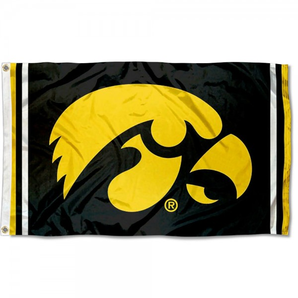 Iowa Hawkeyes Jersey Stripes Flag measures 3x5 feet, is made of 100% polyester, offers quadruple stitched flyends, has two metal grommets, and offers screen printed NCAA team logos and insignias. Our Iowa Hawkeyes Jersey Stripes Flag is officially licensed by the selected university and NCAA.