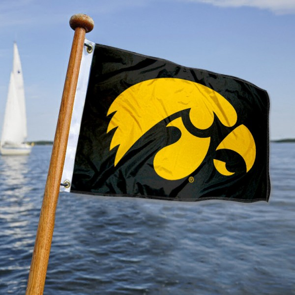 Iowa Hawkeyes Nautical Flag measures 12x18 inches, is made of two-ply polyesters, offers quadruple stitched flyends for durability, has two metal grommets, and is viewable from both sides. Our Iowa Hawkeyes Nautical Flag is officially licensed by the selected university and the NCAA and can be used as a motorcycle flag, golf cart flag, or ATV flag