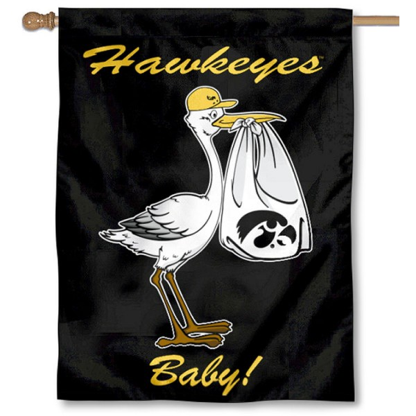 Iowa Hawkeyes New Baby Flag measures 30x40 inches, is made of poly, has a top hanging sleeve, and offers dye sublimated Iowa Hawkeyes logos. This Decorative Iowa Hawkeyes New Baby House Flag is officially licensed by the NCAA.