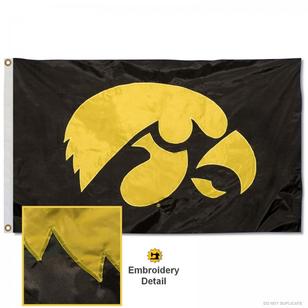 Iowa Hawkeyes Nylon Embroidered Flag measures 3'x5', is made of 100% nylon, has quadruple flyends, two metal grommets, and has double sided appliqued and embroidered University logos. These Iowa Hawkeyes 3x5 Flags are officially licensed by the selected university and the NCAA.
