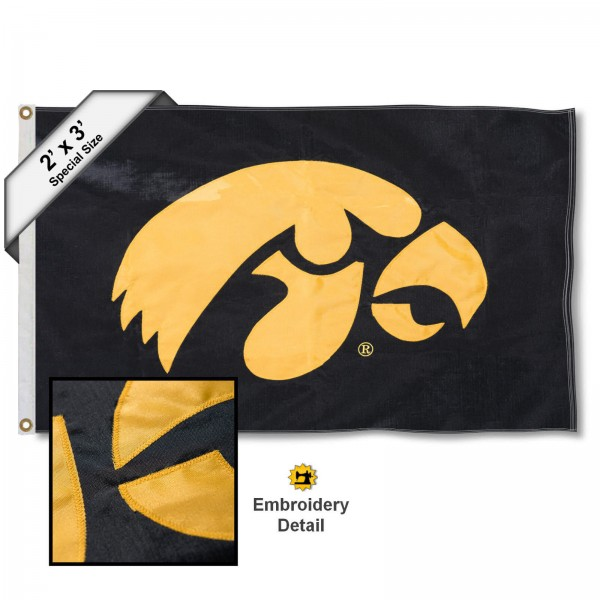 Iowa Hawkeyes Small 2'x3' Flag measures 2x3 feet, is made of 100% nylon, offers quadruple stitched flyends, has two brass grommets, and offers embroidered Hawkeye logos and insignias. Our Iowa Hawkeyes Small 2'x3' Flag is officially licensed by the selected university.