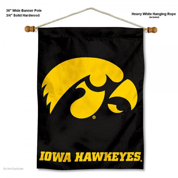 "Iowa Hawkeyes Wall Banner is constructed of polyester material, measures a large 30""x40"", offers screen printed athletic logos, and includes a sturdy 3/4"" diameter and 36"" wide banner pole and hanging cord. Our Iowa Hawkeyes Wall Banner is Officially Licensed by the selected college and NCAA."