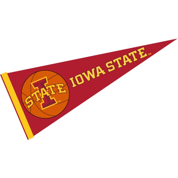 Iowa State Basketball Pennant consists of our full size sports pennant which measures 12x30 inches, is constructed of felt, is single sided imprinted, and offers a pennant sleeve for insertion of a pennant stick, if desired. This Iowa State Pennant Decorations is Officially Licensed by the selected university and the NCAA.