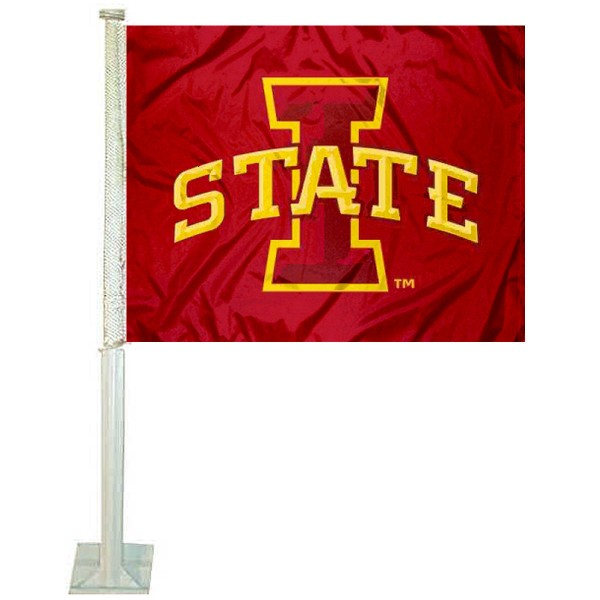 Iowa State Car Window Flag measures 12x15 inches, is constructed of sturdy 2 ply polyester, and has screen printed school logos which are readable and viewable correctly on both sides. Iowa State Car Window Flag is officially licensed by the NCAA and selected university.