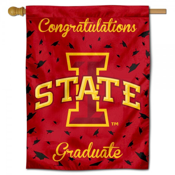 Iowa State Cyclones Congratulations Graduate Flag measures 30x40 inches, is made of poly, has a top hanging sleeve, and offers dye sublimated Iowa State Cyclones logos. This Decorative Iowa State Cyclones Congratulations Graduate House Flag is officially licensed by the NCAA.
