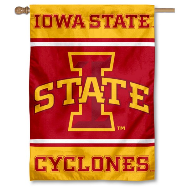 Iowa State Cyclones Double Sided Banner is a vertical house flag which measures 28x40 inches, is made of 2 ply 100% nylon, offers screen printed NCAA team insignias, and has a top pole sleeve to hang vertically. Our Iowa State Cyclones Double Sided Banner is officially licensed by the selected university and the NCAA.