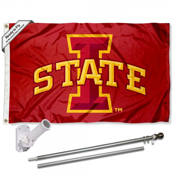 Our Iowa State Cyclones Flag Pole and Bracket Kit includes the flag as shown and the recommended flagpole and flag bracket. The flag is made of polyester, has quad-stitched flyends, and the NCAA Licensed team logos are double sided screen printed. The flagpole and bracket are made of rust proof aluminum and includes all hardware so this kit is ready to install and fly.