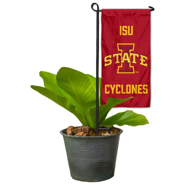 "Iowa State Cyclones Flower Pot Topper Flag kit includes our 4""x8"" mini garden banner and 6"" x 14"" mini garden banner stand. The mini flag is made of 1-ply polyester, has screen printed logos and the garden stand is made of steel and powder coated black. This kit is NCAA Officially Licensed by the selected college or university."
