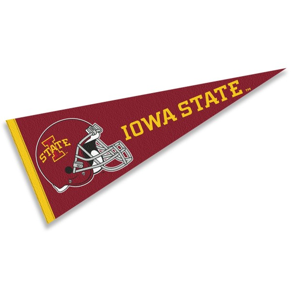 Iowa State Cyclones Helmet Pennant consists of our full size sports pennant which measures 12x30 inches, is constructed of felt, is single sided imprinted, and offers a pennant sleeve for insertion of a pennant stick, if desired. This Iowa State Cyclones Pennant Decorations is Officially Licensed by the selected university and the NCAA.