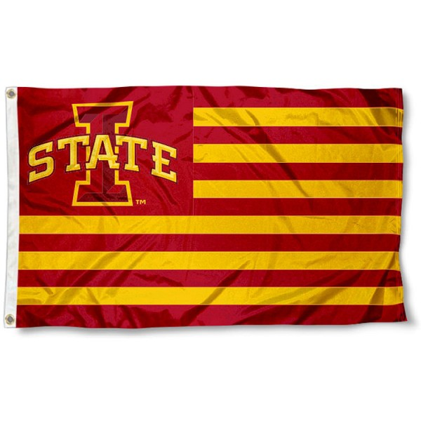 Iowa State Cyclones Striped Flag measures 3'x5', is made of polyester, offers quad stitched flyends for durability, has two metal grommets, and is viewable from both sides with a reverse image on the opposite side. Our Iowa State Cyclones Striped Flag is officially licensed by the selected school university and the NCAA