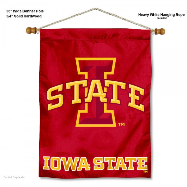 "Iowa State Cyclones Wall Banner is constructed of polyester material, measures a large 30""x40"", offers screen printed athletic logos, and includes a sturdy 3/4"" diameter and 36"" wide banner pole and hanging cord. Our Iowa State Cyclones Wall Banner is Officially Licensed by the selected college and NCAA."