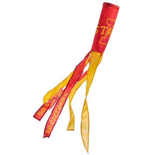 """Iowa State Cyclones Windsock measures 40"""" in length by 5"""" in width, is made of 100% polyester, offers screen printed NCAA team logos, team names and insignias, has 6 alternative colored streamers and tails, includes a double stringed bridle and hanging swivel clip, and our Iowa State Cyclones Windsock is authentic, licensed, and approved by the selected university or team."""