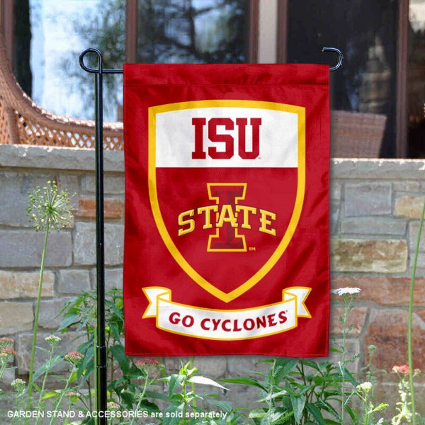 Iowa State Go Cyclones Shield Garden Flag is 13x18 inches in size, is made of thick blockout polyester, screen printed university athletic logos and lettering, and is readable and viewable correctly on both sides. Available same day shipping, our Iowa State Go Cyclones Shield Garden Flag is officially licensed and approved by the university and the NCAA.