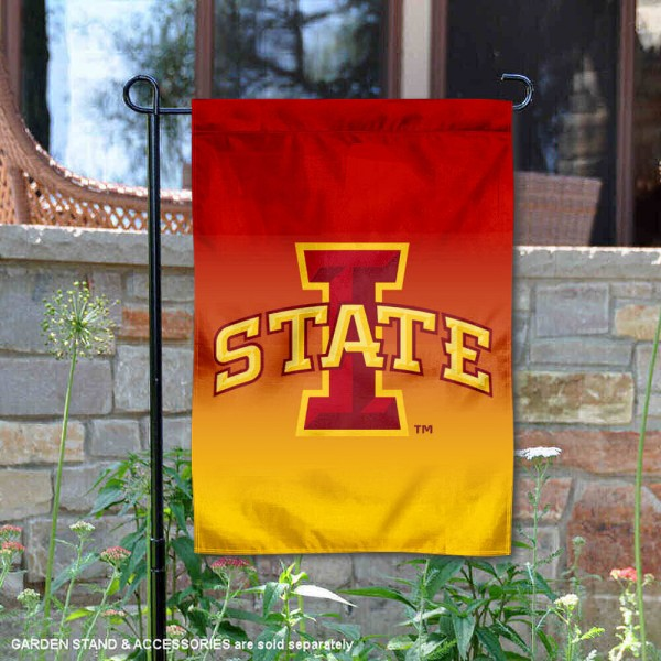 Iowa State Gradient Ombre Logo Garden Flag is 13x18 inches in size, is made of thick blockout polyester, screen printed university athletic logos and lettering, and is readable and viewable correctly on both sides. Available same day shipping, our Iowa State Gradient Ombre Logo Garden Flag is officially licensed and approved by the university and the NCAA.