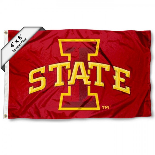 Iowa State University 4x6 Flag measures 4x6 feet, is made of thick woven polyester, has quadruple stitched flyends, two metal grommets, and offers screen printed NCAA Iowa State University athletic logos and insignias. Our Iowa State University 4x6 Flag is officially licensed by Iowa State University and the NCAA.