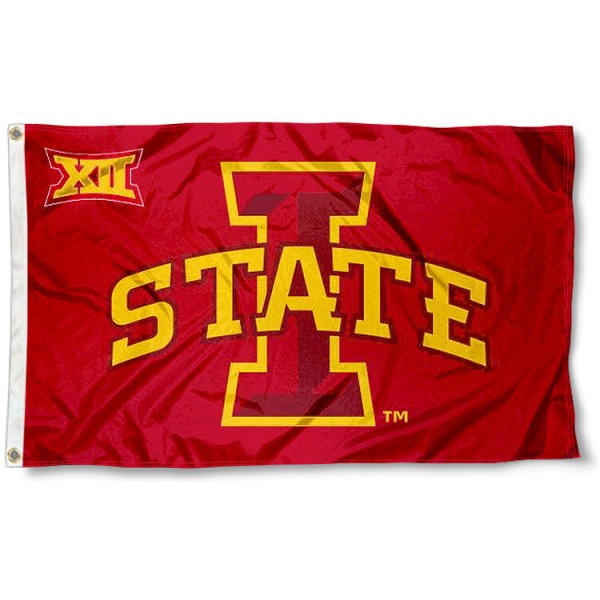 Iowa State University Big 12 Flag measures 3'x5', is made of 100% poly, has quadruple stitched sewing, two metal grommets, and has double sided Team University logos. Our Iowa State University Big 12 Flag is officially licensed by the selected university and the NCAA.