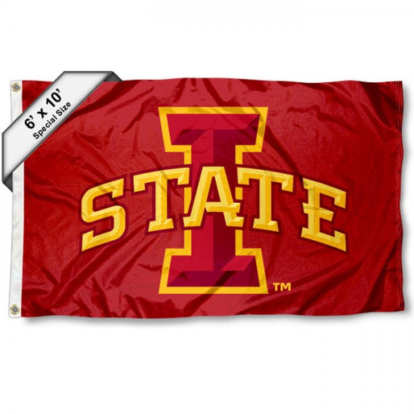 Iowa State University Cyclones 6'x10' Flag measures 6x10 feet, is made of thick poly, has quadruple-stitched fly ends, and Iowa State University Cyclones logos are screen printed into the Iowa State University Cyclones 6'x10' Flag. This Iowa State University Cyclones 6'x10' Flag is officially licensed by and the NCAA.