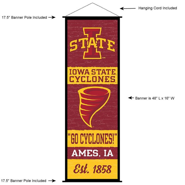 """This """"ready to hang"""" Iowa State University Decor and Banner is made of polyester material, measures a large 17.5"""" x 48"""", offers screen printed athletic logos, and includes both top and bottom 3/4"""" diameter plastic banner poles and hanging cord. Our Iowa State University D�cor and Banner is Officially Licensed by the selected college and NCAA."""